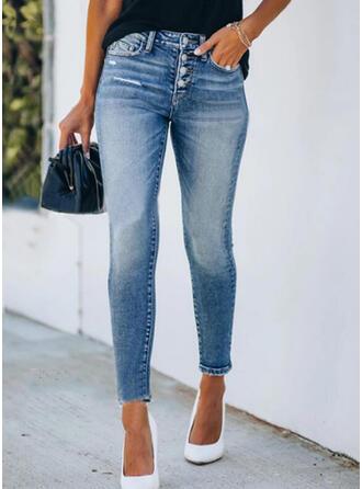Shirred Zerrissen Elegant Sexy Dünn Denim Jeans