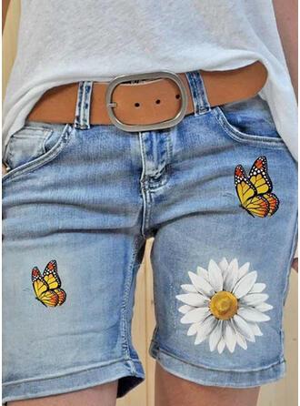 Druck Übergröße Baumwollstoff Druck Kurze Hose Denim Jeans