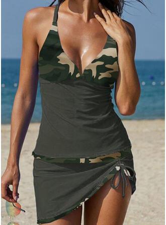 Spleiß Farbe Neckholder V-Ausschnitt Retro Tankinis Bademode