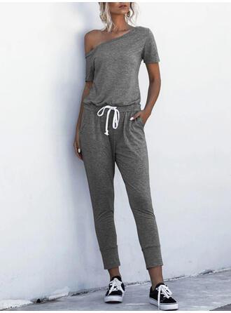 Einfarbig Eine-Schulter Kurze Ärmel Lässige Kleidung Overall