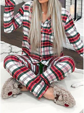 Polyester Lange Ärmel Weihnachten Gitter Pyjama Set