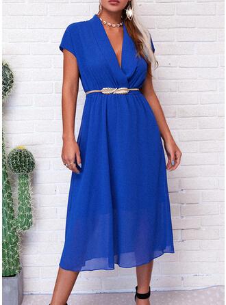 Einfarbig Ärmellos A-Linien Party/Elegant Midi Kleider