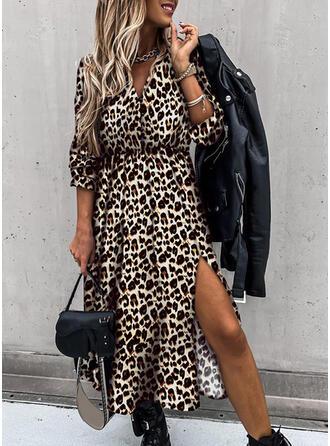 Leopard Lange Ärmel A-Linien Skater Freizeit Midi Kleider