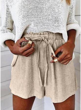 Einfarbig Übergröße Kordelzug Lässige Kleidung Einfach Kurze Hose