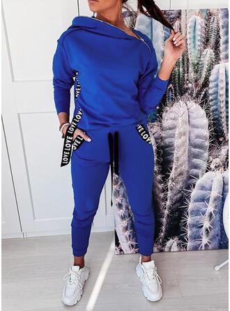 Einfarbig Kordelzug Lässige Kleidung Sportlich Hosen Anzüge