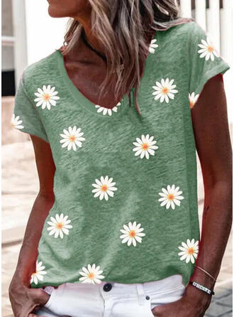 Blumen Druck V-Ausschnitt Kurze Ärmel T-Shirts