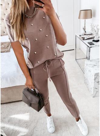 Einfarbig Übergröße Kordelzug Lässige Kleidung Sportlich Anzüge