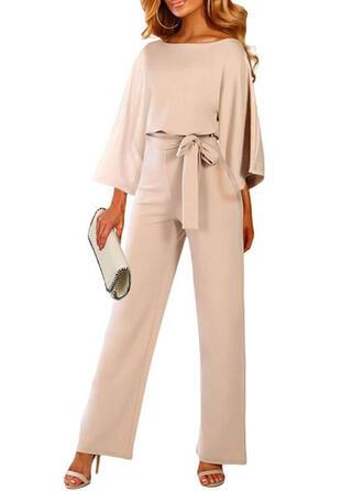 Einfarbig Rundhalsausschnitt 3/4 Ärmel Lässige Kleidung Elegant Kleine Schwarze Overall