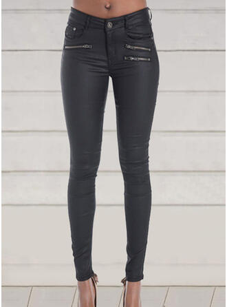 Einfarbig Übergröße Sexy Dünn Leder Hosen Gamaschen