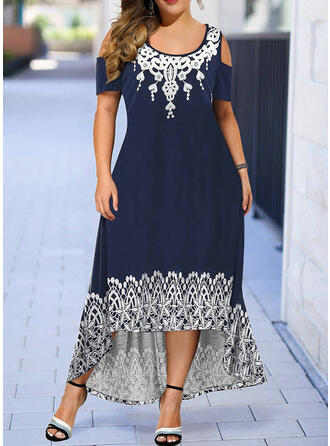 Große Größen Druck Kurze Ärmel A-Linien-Kleid Asymmetrisch Lässige Kleidung Kleid