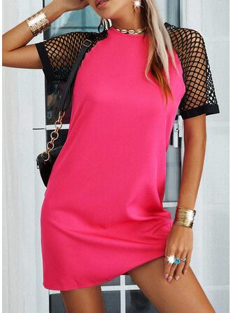 Einfarbig/Mesh Kurze Ärmel Shift Über dem Knie Freizeit Tunika Kleider