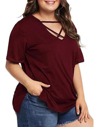 Einfarbig V-Ausschnitt 1/2 Ärmel Lässige Kleidung Große Größen Blusen