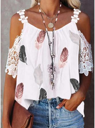 Drucken Blumen Spitze Kalte Schulter 1/2 Ärmel Elegant Blusen