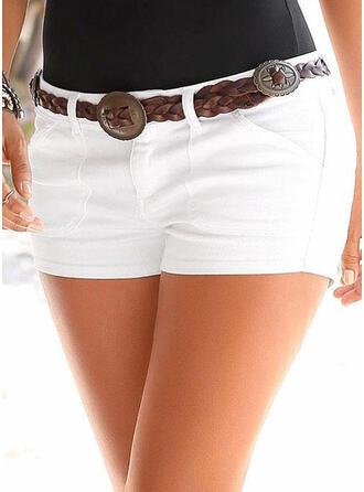 Einfarbig Shirred Sexy Einfach Kurze Hose Denim Jeans