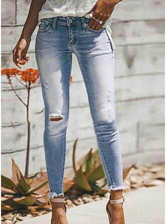 Taschen Shirred Übergröße Zerrissen Sexy Einfach Denim Jeans