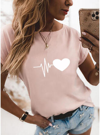 Herz Druck Rundhalsausschnitt Kurze Ärmel T-Shirts