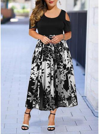 Große Größen Blumen Druck Kurze Ärmel A-Linien-Kleid Midi Elegant Kleid