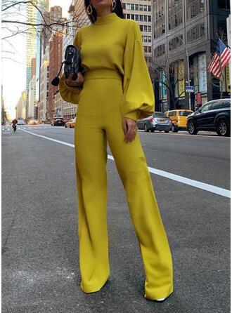 Einfarbig Stehkragen Lange Ärmel Laterne Ärmel Lässige Kleidung Elegant Overall