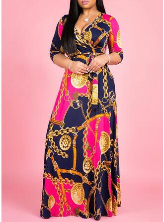 Große Größen Druck 3/4 Ärmel A-Linien-Kleid Maxi Lässige Kleidung Kleid