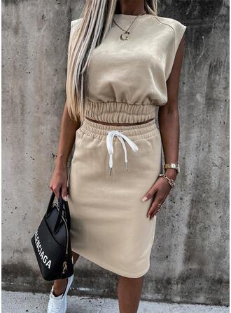 Einfarbig Kordelzug Lässige Kleidung Elegant Sexy Anzüge