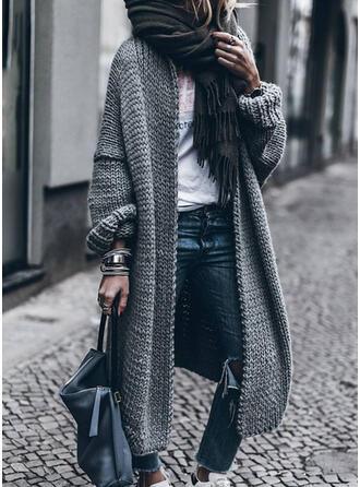 Polyester Baumwolle Lange Ärmel Einfarbig Breite Waist Mantel