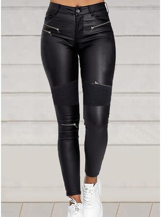 Einfarbig Geometrisch Übergröße Sexy Leder Jahrgang Hosen