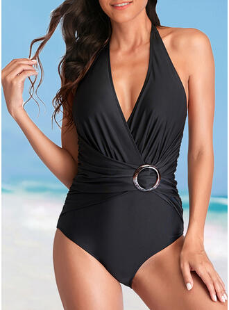 Einfarbig Neckholder V-Ausschnitt Elegant Lässige Kleidung Exquisiten Badeanzüge Bademode