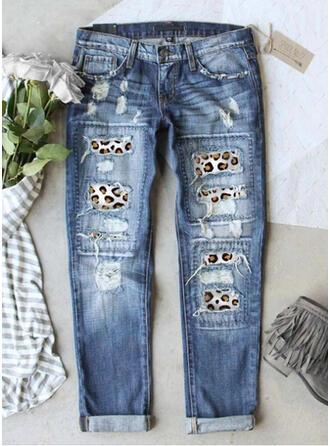 Geometrisch Zerrissen Leopard Stammes Jahrgang Denim Jeans