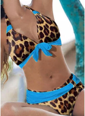 Leopard Hochdrücken V-Ausschnitt Trägerlos Sexy Lässige Kleidung Bikinis Bademode