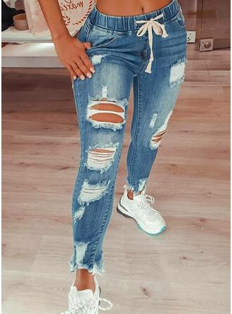 Übergröße Zerrissen Kordelzug Sexy Jahrgang Denim Jeans