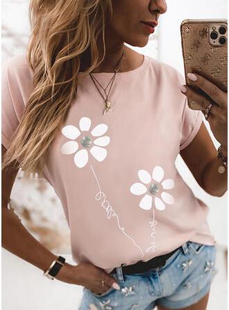 Blumen Druck Buchstaben Rundhalsausschnitt Kurze Ärmel T-Shirts