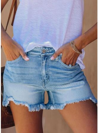 Quaste Einfach Kurze Hose Denim Jeans