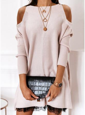Einfarbig Spitze Kalte Schulter Freizeit Lang Pulloverkleid