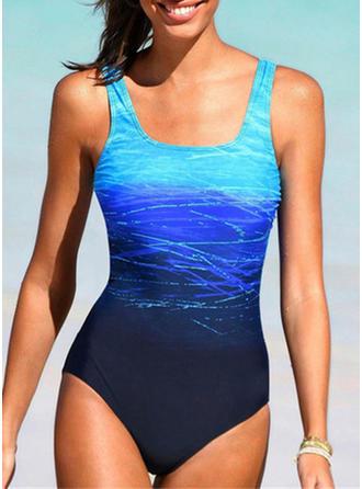 Bunt Drucken Träger Übergröße Lässige Kleidung Badeanzüge Bademode