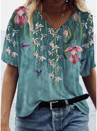 Mit Tierdruck Blumen V-Ausschnitt Kurze Ärmel T-Shirts