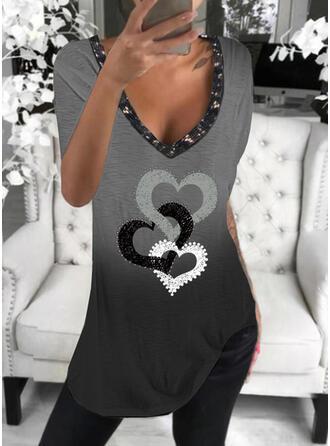 Gradient Herz Druck Pailletten V-Ausschnitt Kurze Ärmel T-Shirts