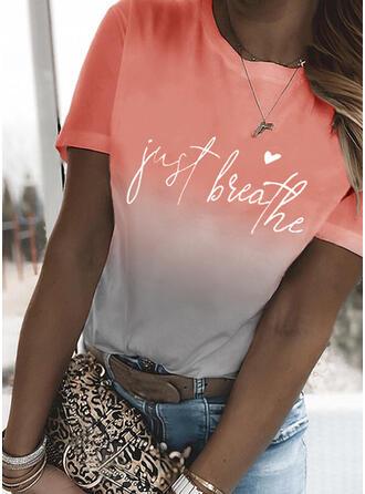 Gradient Herz Druck Buchstaben Rundhalsausschnitt Kurze Ärmel T-Shirts