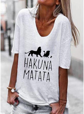 Mit Tierdruck Buchstaben V-Ausschnitt 1/2 Ärmel T-Shirts
