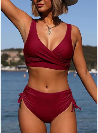 Schnur Rüschen Träger V-Ausschnitt Elegant Übergröße Bikinis Bademode