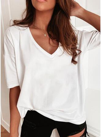 Einfarbig V-Ausschnitt 1/2 Ärmel T-Shirts