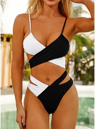 Spleiß Farbe Rüschen Kreuz Träger V-Ausschnitt Sexy Vintage Attraktiv Ins Auge Fallend Bikinis Bademode