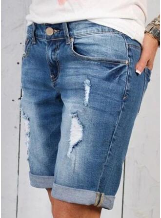 Taschen Übergröße Lässige Kleidung Sportlich Baumwollstoff Kurze Hose Denim Jeans