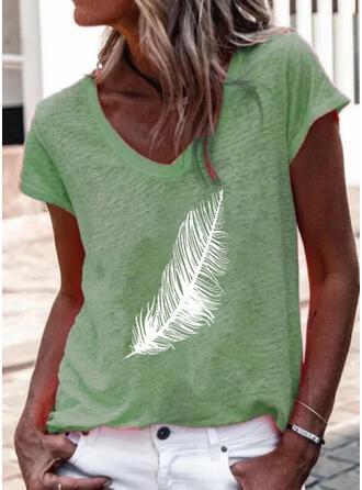 Druck V-Ausschnitt Kurze Ärmel T-Shirts