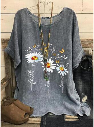 Mit Tierdruck Blumen Buchstaben Rundhalsausschnitt Kurze Ärmel T-Shirts