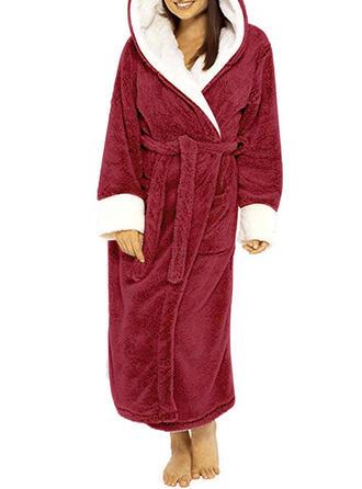 Polyester Einfarbig Lange Ärmel Weihnachten Kleid