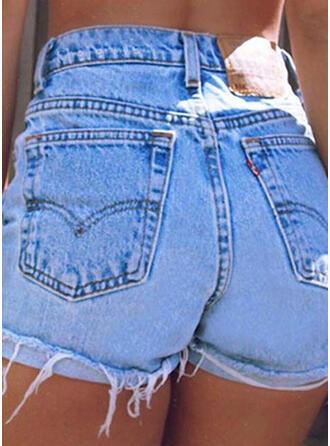 Taschen Quaste Einfarbig Baumwollstoff Kurze Hose