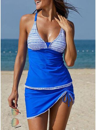 Spleiß Farbe Neckholder V-Ausschnitt Übergröße Lässige Kleidung Tankinis Bademode