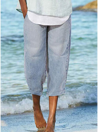Shirred Lässige Kleidung Einfach Denim Jeans
