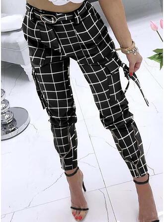Kariert Taschen Übergröße Lange Lässige Kleidung Elegant Sexy Hosen