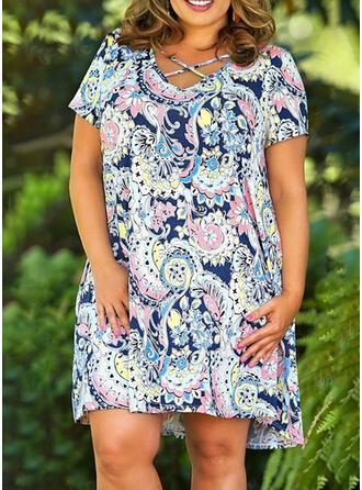 Große Größen Blumen Druck Kurze Ärmel Etuikleider Über dem Knie Boho Lässige Kleidung Urlaub Kleid